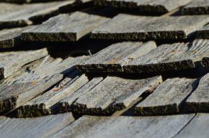 wood shingles on a roof